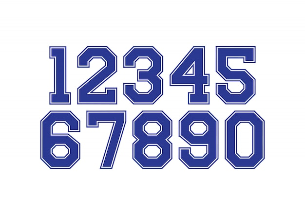 Set of numbers with blue and white typography design elements