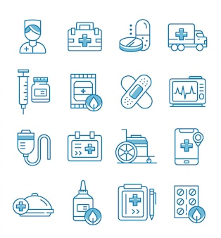 Set of nurse icons with outline style