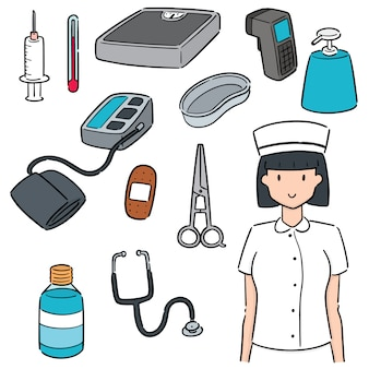 Set of nurse and medical equipment