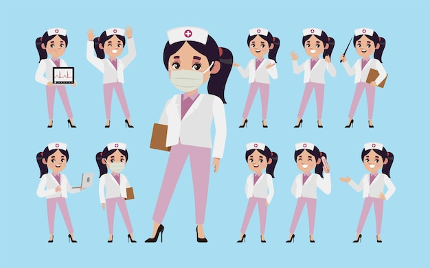 Set of nurse with different poses