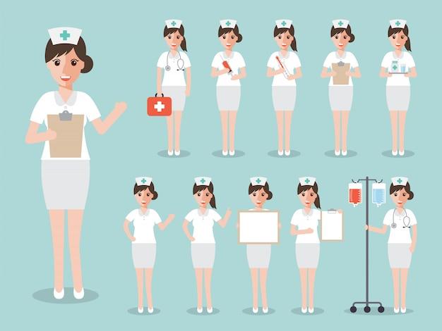Set of nurses and medical staff.