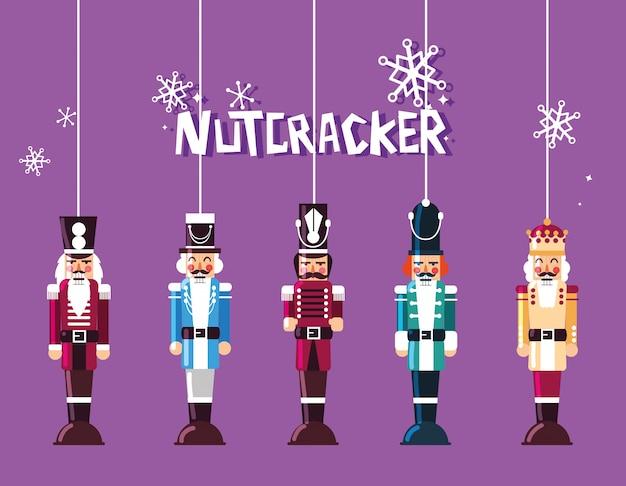 Set of nutcracker toy hanging