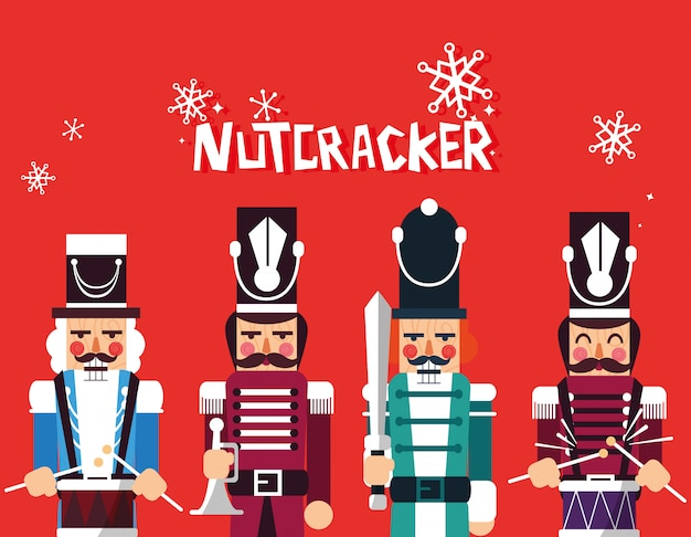 Set of nutcracker toy isolated icon