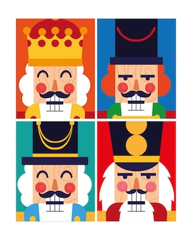Set of nutcracker toy isolated icon