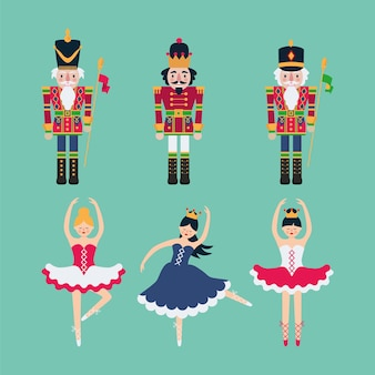 Set of nutcrackers and ballerinas.