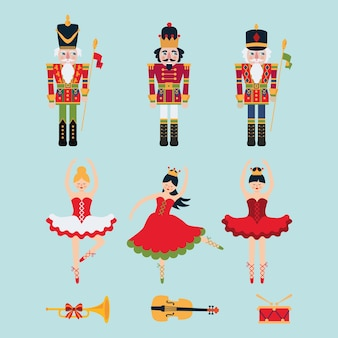Set of nutcrackers, ballirinas, violin, drum.
