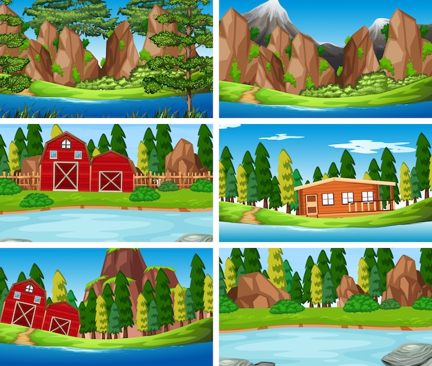 Set oa nature landscape background