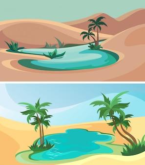 Set of oasis. beautiful nature sceneries.