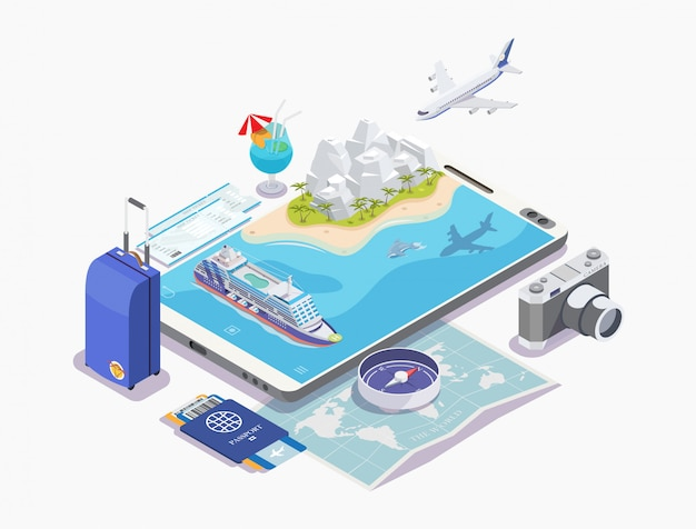 Set of objects cruise ship isometric illustration, cruise concept, banner for rest, white background