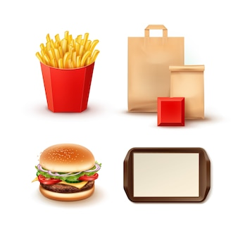 Set of objects for fast food restaurant with paper packages for takeaway