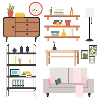 Set of objects and furniture in the living room