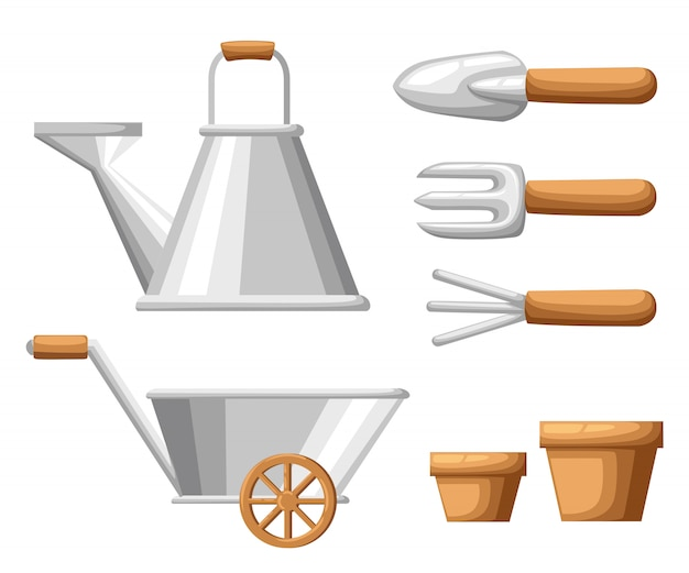Set of objects for garden iron watering can shovel flower pots rake on white background  illustration web site page and mobile app