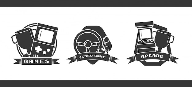 Set of objects related to video games in flat style