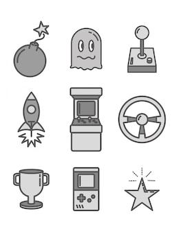Insieme di oggetti relativi ai videogiochi in stile piatto