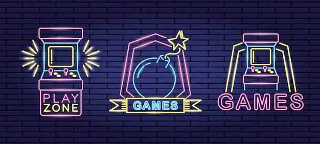 Set of objects related to video games in neon and lienal style