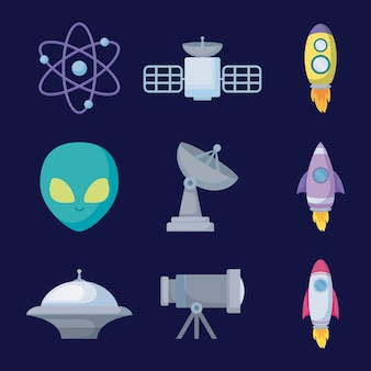 Set objects of space universe icon
