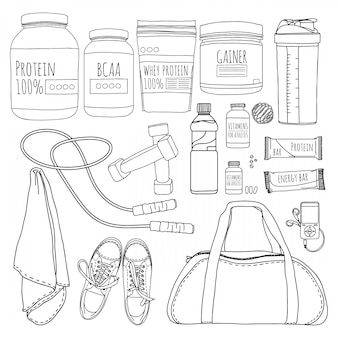 A set of objects of sports nutrition. bags for training, trainers, dumbbells and supplements for athletes. line style.