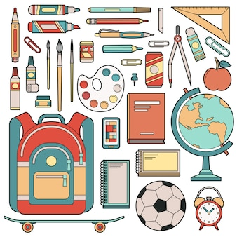 Set of objects for student in school.