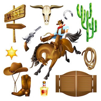 Set objects of wild west saloon accessories and objects.