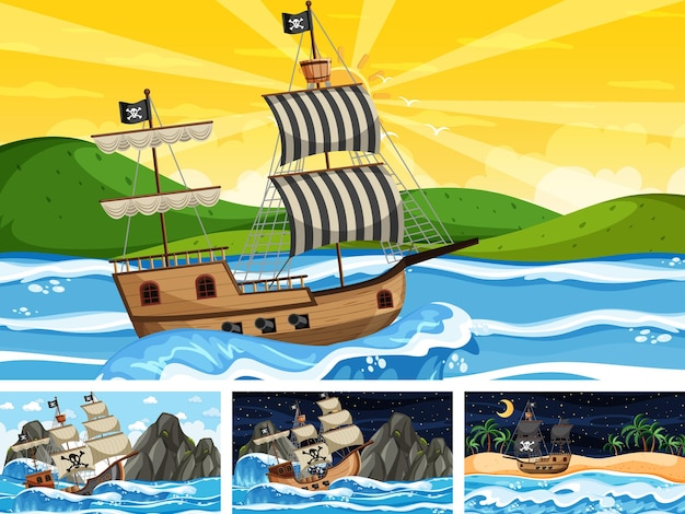 Set of ocean scenes at different times with pirate ship in cartoon style