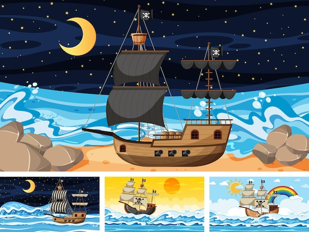 Set of ocean with pirate ship at different times scenes  in cartoon style