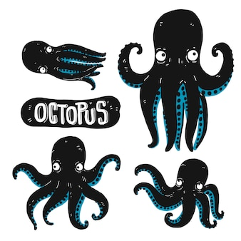 Set of octopus silhouette