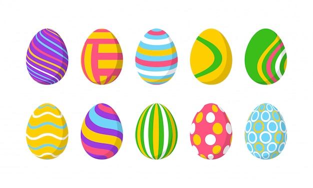 Набор из 10 цветных пасхальных яиц с рисунком. элементы дизайна для праздничных открыток. пасхальная коллекция с различной текстурой. мультфильм плоский стиль иллюстрации