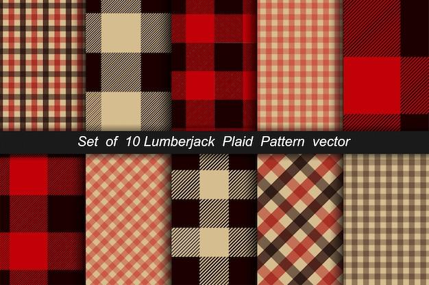木こり格子柄パターン10枚セット。木こり格子縞とバッファローチェックパターン。木こり格子柄のタータンチェックとギンガムチェックのパターン。ベクトルイラスト