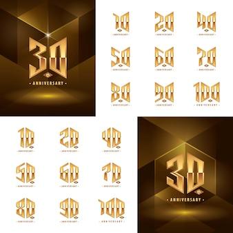 Набор дизайнов логотипов от 10 до 100 золотых годовщин