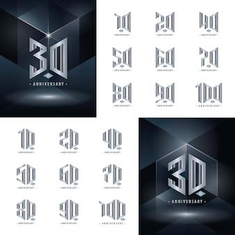 Набор от 10 до 100 серебряных логотипов юбилейный дизайн