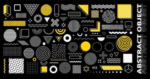 100 도형 세트 멤피스 디자인, 웹, 빈티지, 광고, 상업 배너, 포스터, 전단지, 광고 판, 판매에 대 한 복고풍 요소. 컬렉션 유행 하프 톤 기하학적 인 도형입니다.