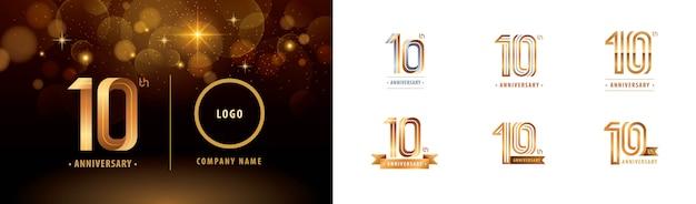 Набор 10-й годовщины логотипа дизайна, десять лет праздновать юбилей логотип