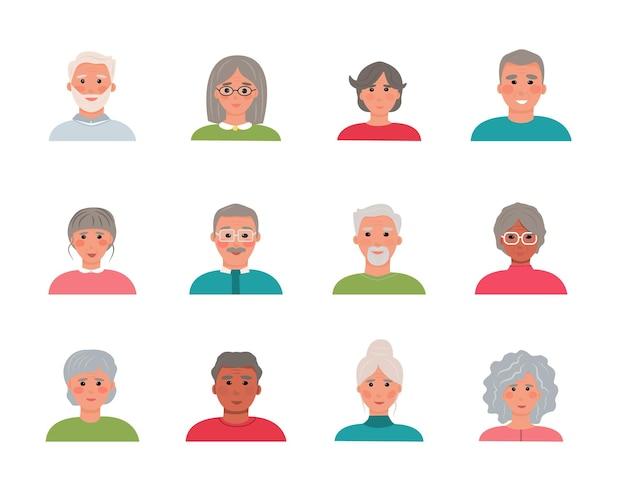 高齢者のアバターキャラクター12体セット。さまざまな国籍の年配の男性と女性の肖像画のコレクション。祖父母の漫画の顔。ベクトルイラスト、フラット