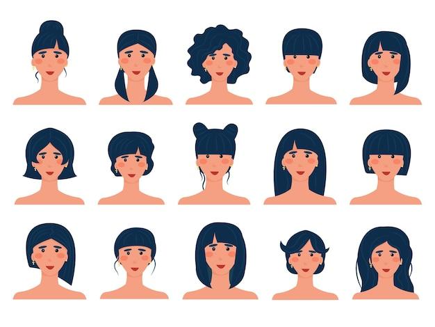 다른 헤어스타일을 가진 15명의 갈색 머리 아바타 세트. 검은 머리를 가진 유럽 소녀의 고립 된 이미지. 헤어스타일 옵션. 벡터 일러스트 레이 션