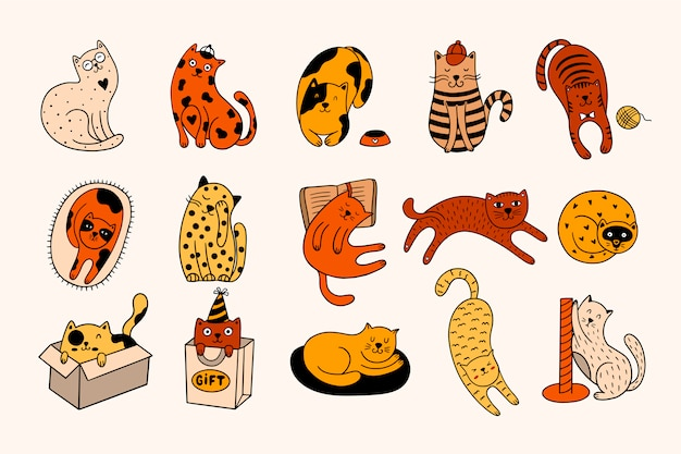 손으로 그린 귀여운 15 마리의 고양이 세트