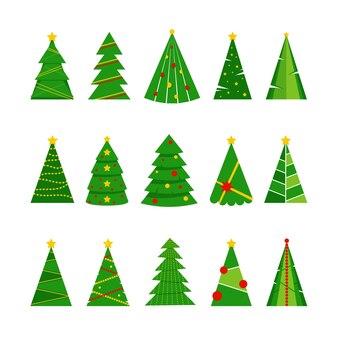 Набор из 15 зеленых елок с праздничными украшениями, изолированных на белом фоне. векторная иллюстрация плоский для поздравительной открытки, плаката, приглашения, веб-баннера.