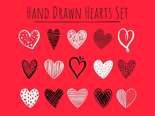 빨간색 배경에 15개의 손으로 그린 흑백 하트 세트, 인사말 카드, 청첩장, 배너, 배경, 직물 디자인을 위한 간단한 벡터 모양.