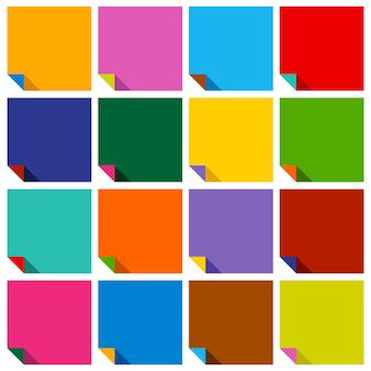 Набор из 16 пустых цветных квадратов