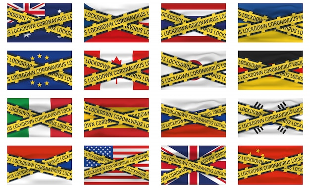 Набор из 16 флагов, значок и логотип, блокировка короновируса, covid 19, мировой эпидемии, пандемии. национальный флаг баннер и шаблон.
