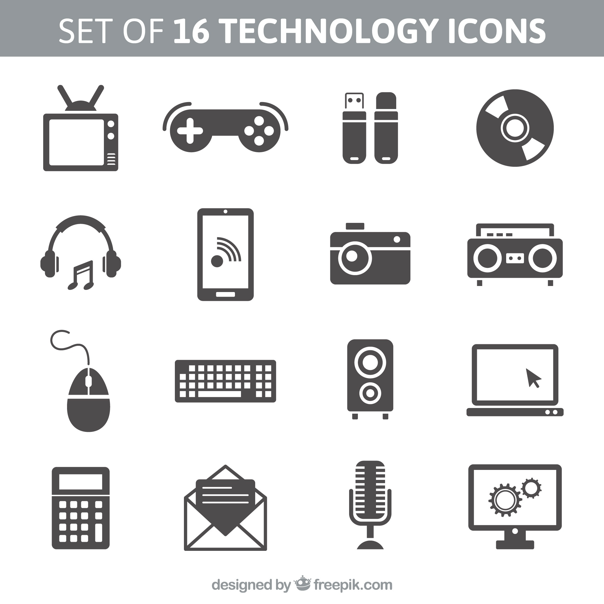Set of 16 technology icons