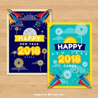 新年の2つのポストカードのセット
