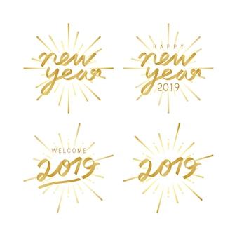 Набор векселей вектора празднования 2019 года