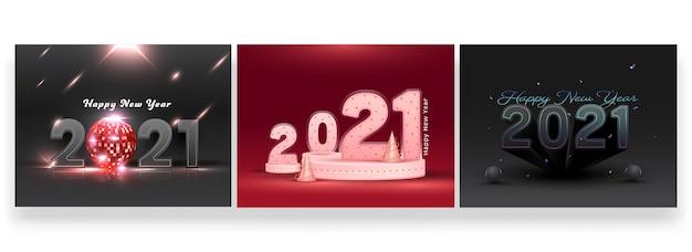Набор дизайна плаката с новым годом 2021 для рекламы