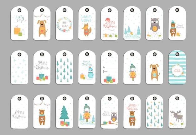 24個のかわいいクリスマスギフトタグ、メリークリスマスのレタリングが付いたカード、動物、プリセット、木、雪片のセット。簡単に編集できるテンプレート。はがき、ポスター、バッジ、バナーの完璧なイラスト。