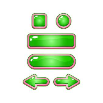 2d面白いピンクゼリーカジュアルゲームuiボタンのセット