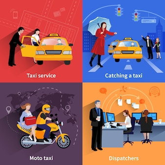 Set of 2x2 banners of taxi service system including dispatchers moto taxi and ordinary taxi