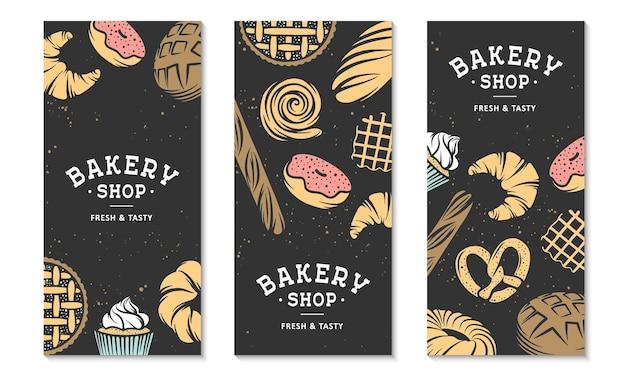 3つのベーカリーチラシまたはパンフレットのセットタイポグラフィ広告デザインベーカリーショップ