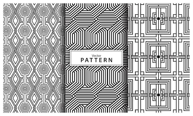 3つの黒と白の幾何学模様の背景のセットです。抽象的な線、シームレスな幾何学的抽象
