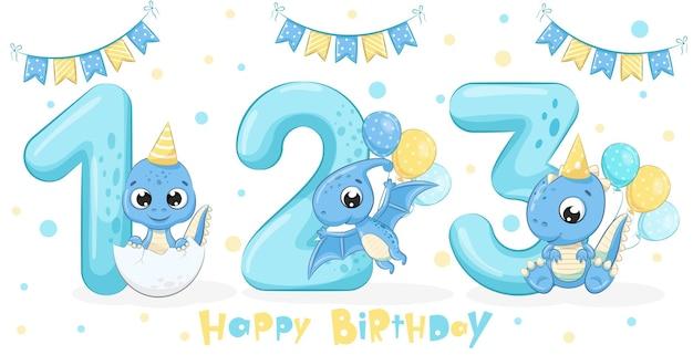 かわいい青い恐竜3体のセット「お誕生日おめでとう、1、2、3年」。漫画のベクトルイラスト。