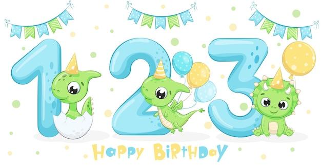 かわいい緑の恐竜「お誕生日おめでとう、1、2、3年」3体セット。漫画のベクトルイラスト。